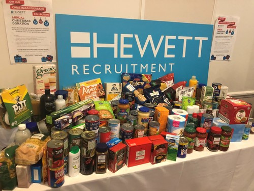 Hewett Recruitment Worcestershire FoodBank collection - HR Professionals Conference delegate donations