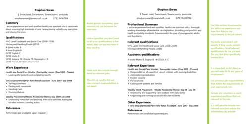 comparing one general CV to one targeted CV