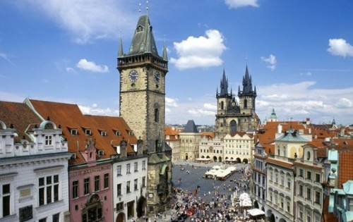 Prague in the Czech Republic - Prague Tyn Cathedral & clock tower