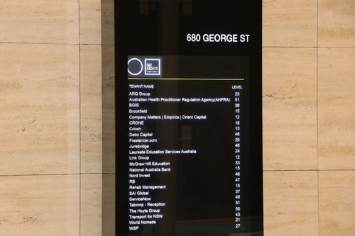 Text Box: Inside Reception, AHPRA Office on level 51
