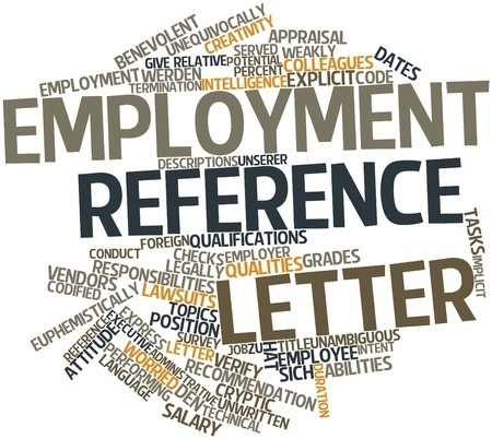 employee reference letter word cloud