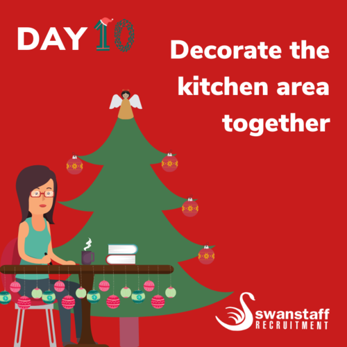 decorate the staff kitchen area together