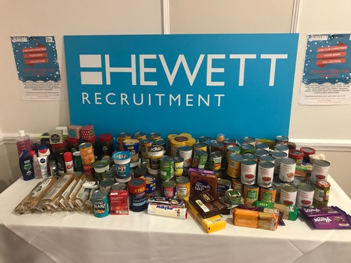 Hewett Recruitment Foodbank donations for HR Professionals Conference