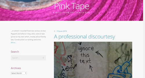 Legal Blog homepage for Pink Tape blog. Featuring header image with pink tape and image below with graffiti which reads 'Ignore this text'.