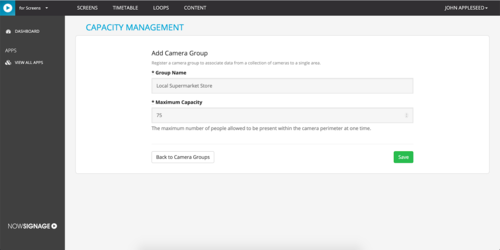Creating a Camera Group in the NowSignage Capacity Management App