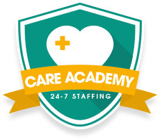 24-7 Staffing Care Academy logo shaped like a shield