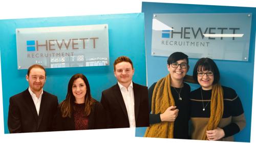 Promotions at Hewett Recruiment. L-R Dominic Aston, Jennie Lessemun, Sam Birtwistle, Lisa Marshall. Sarah Curtis