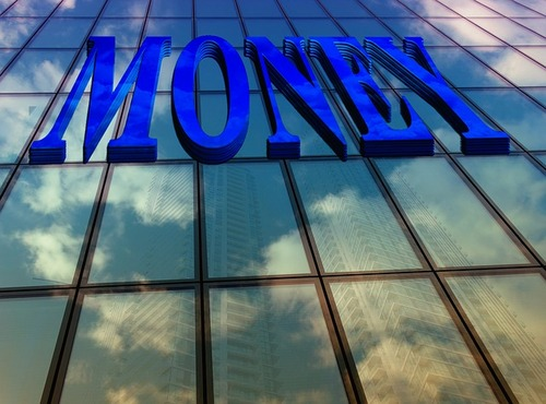 The word money written on glass wall - banking, money