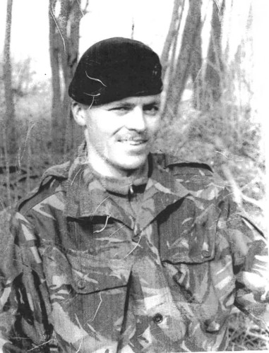 Black and white photo of Paul in his Military uniform