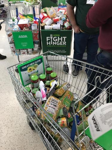 The bridge team filled three trolleys with vital food and goods