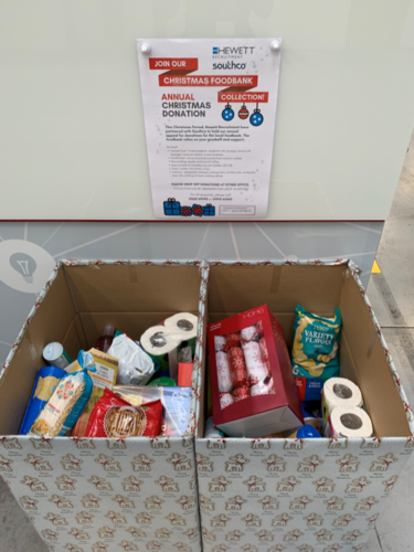 Southco's donation to Hewett Recruitment's Christmas food bank collection