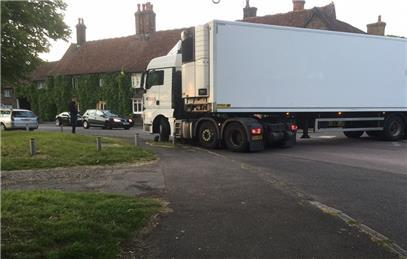 HGV lorry stuck on a kerb