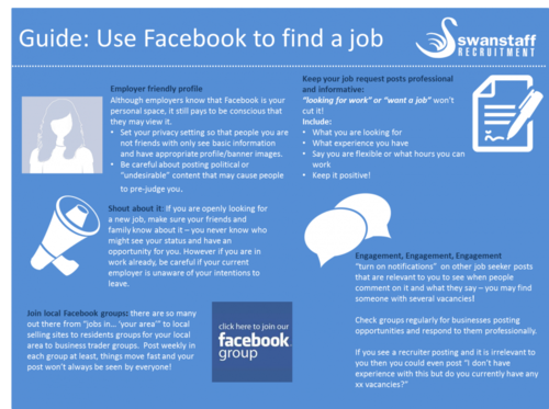 How to find a job on facebook infographic