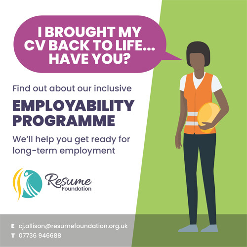 Employability programme poster depicting a young woman with an updated CV.