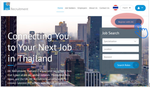 Register with JAC Recruitment blue button