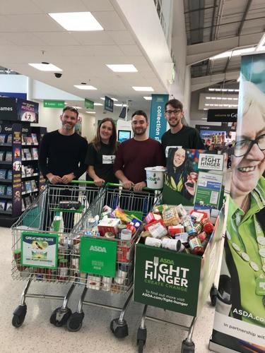 The Bridge team collecting donations for the food bank