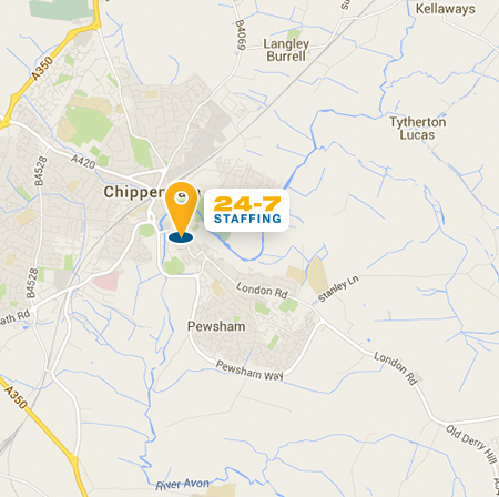 Satellite map location of 24-7 Staffing's Chippenham office