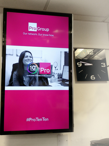 Digital office signage in Pro Group