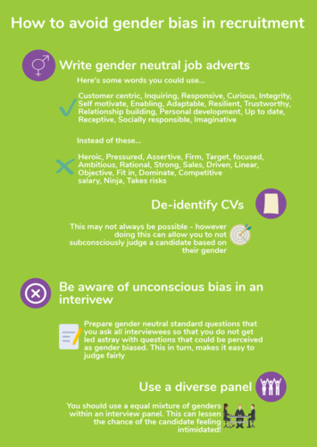 How to avoid gender bias in recruitment infographic