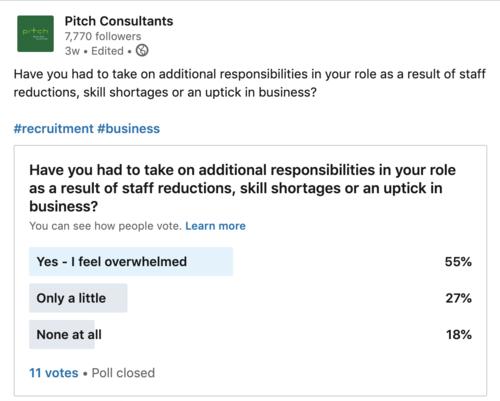 Overburdened teams survey Linkedin- Pitch Consultants