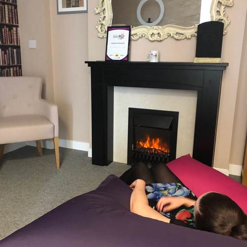 Swanstaff team member relaxing in the relaxation room for WOW week