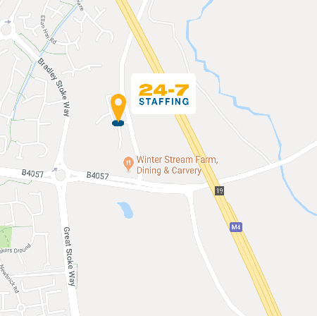 Satellite map location of 24-7 Staffing's Bristol office