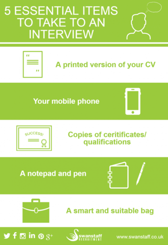 5 essential items to take to an interview infographic