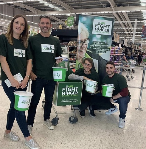 The Bridge team collecting donations for the local food bank