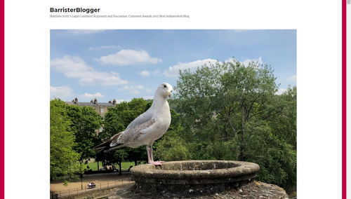 Legal Blog Header Image for Barrister Blogger. Featuring a seagull perched on concrete jug and trees in the background.