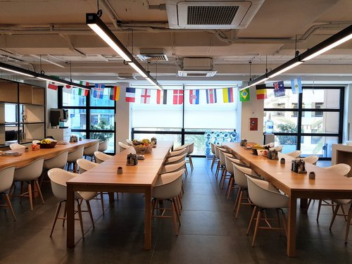 Kitchen with flags at Betsson