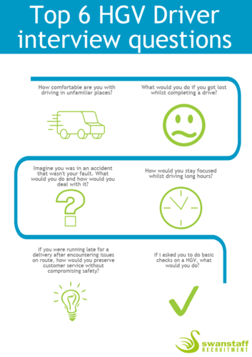 Top 6 HGV Driver interview questions infographic